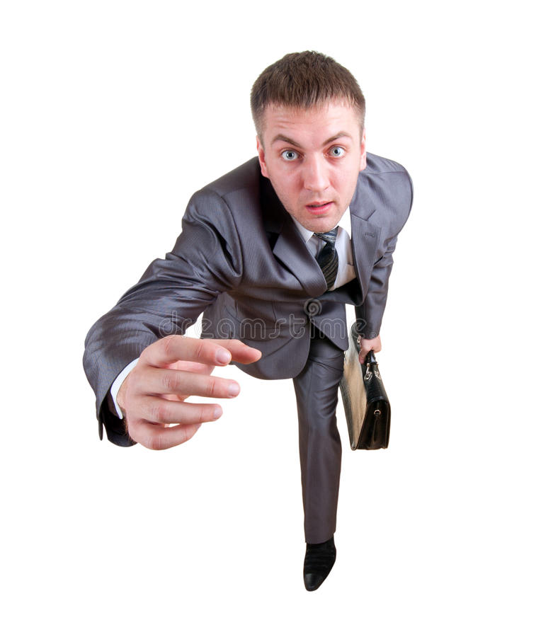 Running Businessman With Briefcase Royalty Free Stock Photography