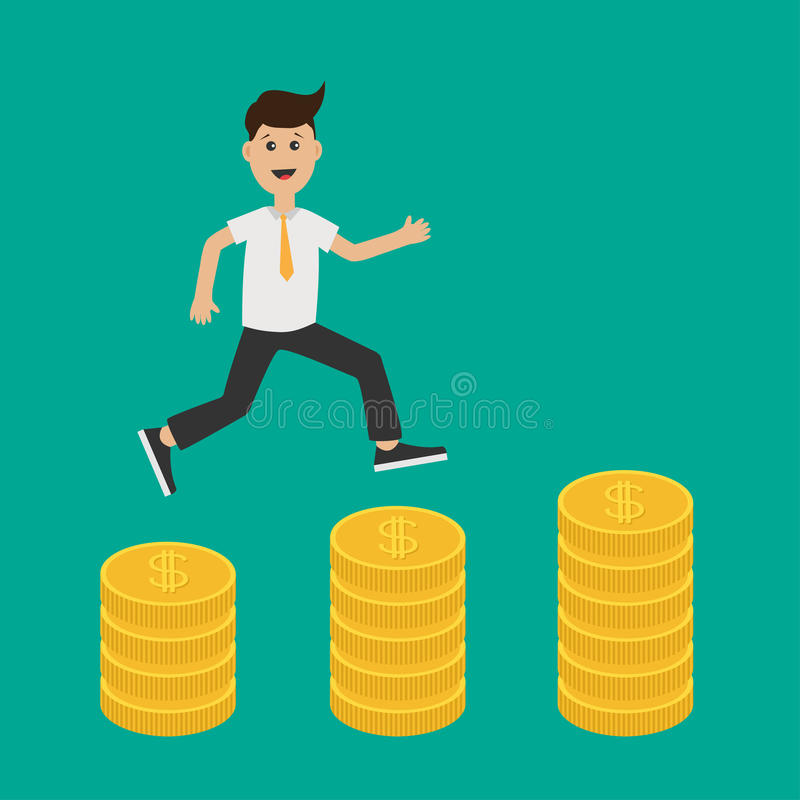 Running businessman charcter. Gold coin stacks icon in shape of diagram. Dollar sign symbol. Cash money. Going up graph. royalty free illustration