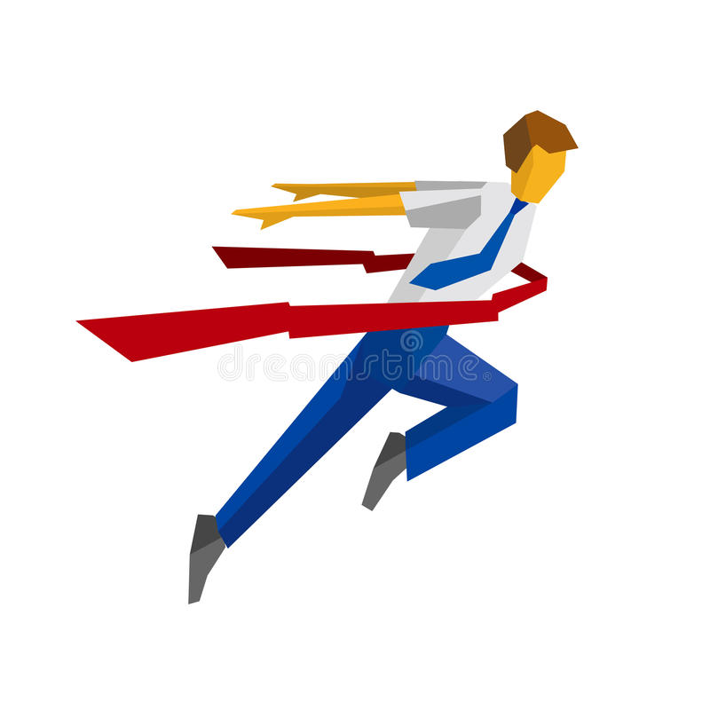 Running businessman crosses a finish line red ribbon. Business metaphors - success, win the race, leadership concept. Flat style vector clip art isolated on vector illustration