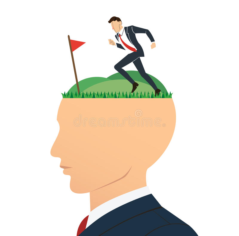 Running businessman to successful achievement on big head. Business concept illustration. stock illustration