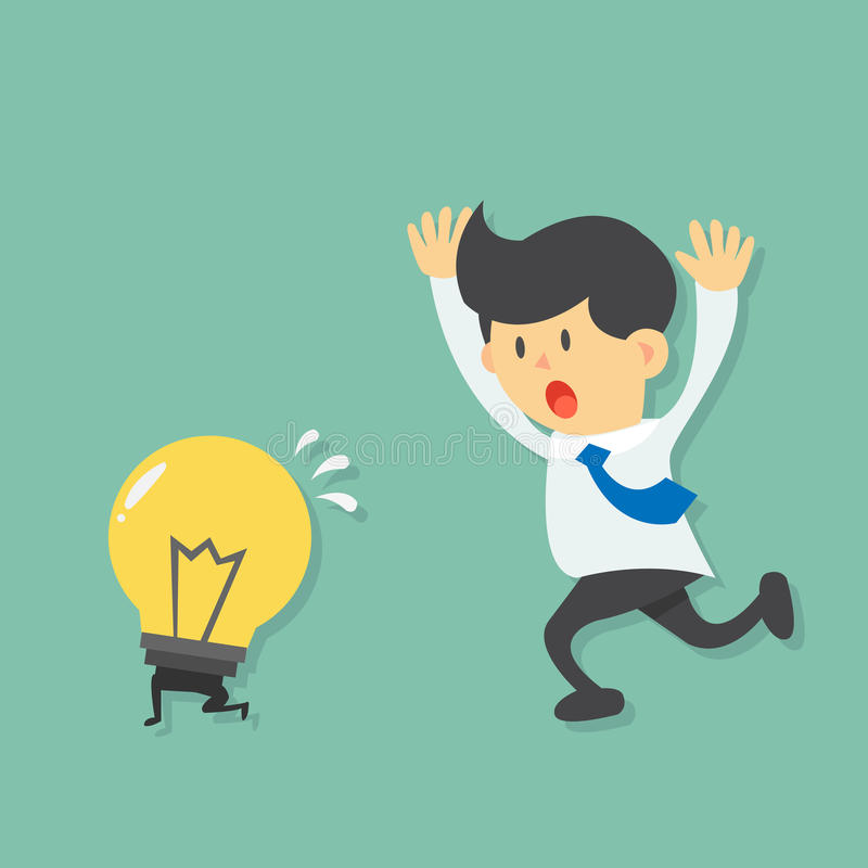 Running Businessman try to catch light bulb idea, light bulb escape from businessman by running. Flat design vector royalty free illustration