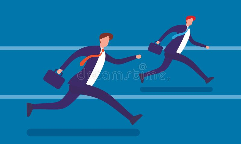 Running businessmen flat vector illustration stock images