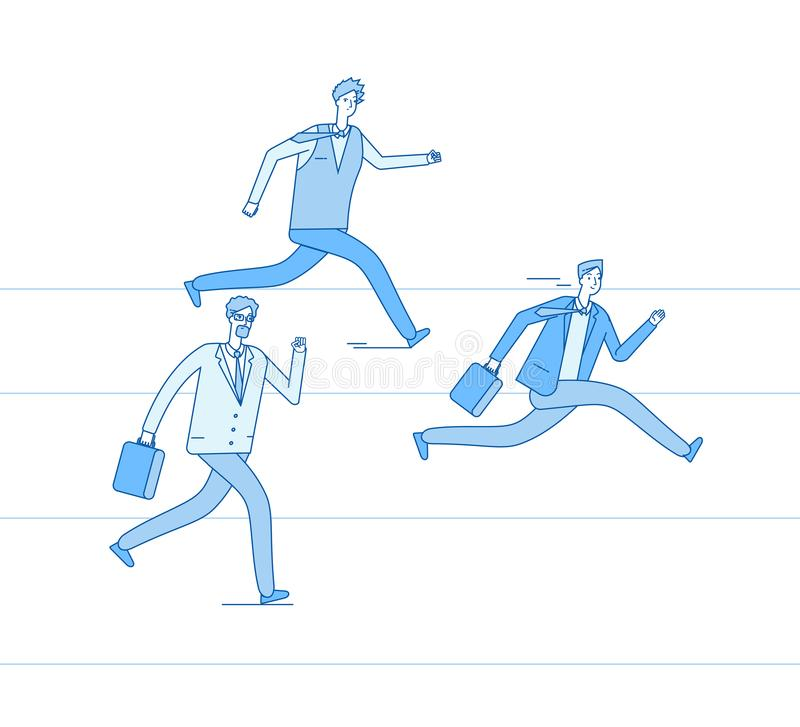 Running businessmen. Jogging people run track race winning team. Leadership achievement teamwork competition business royalty free illustration