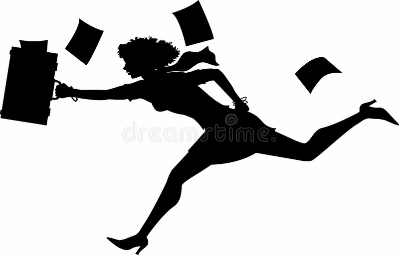 Running_businesswoman royalty free illustration
