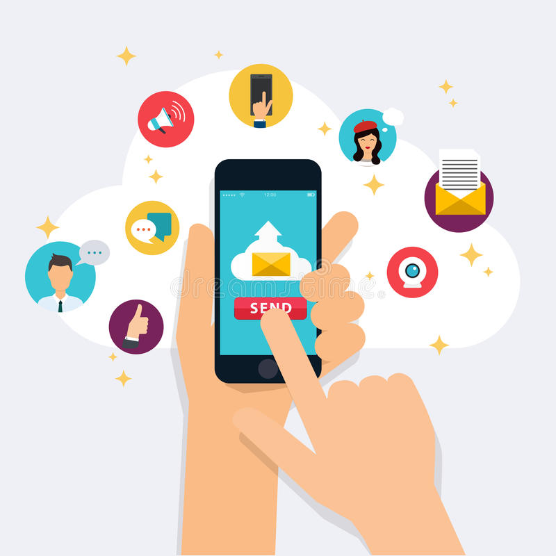 Running campaign, email advertising, direct digital marketing. E vector illustration
