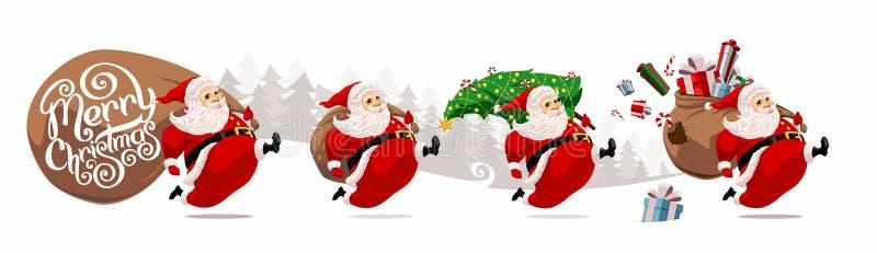 Running cartoon Santa Claus stock photography