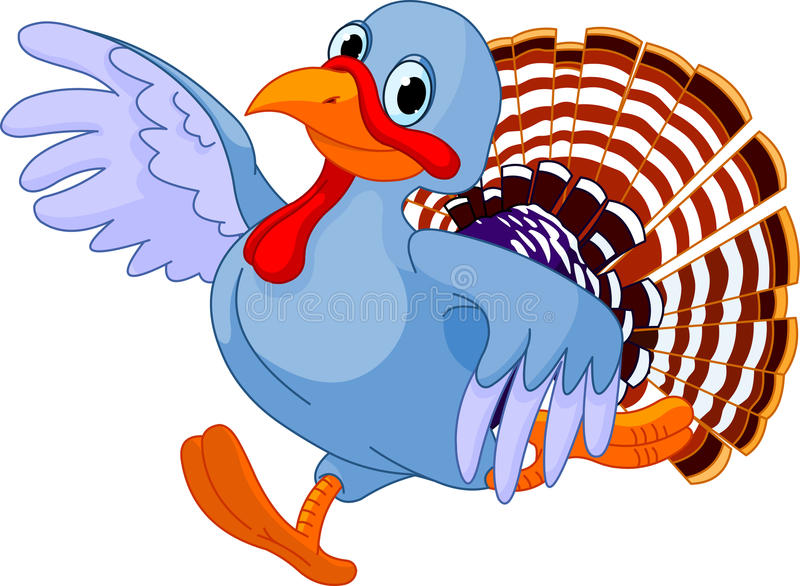 Running Cartoon Turkey. Cartoon turkey running, isolated on white background stock illustration
