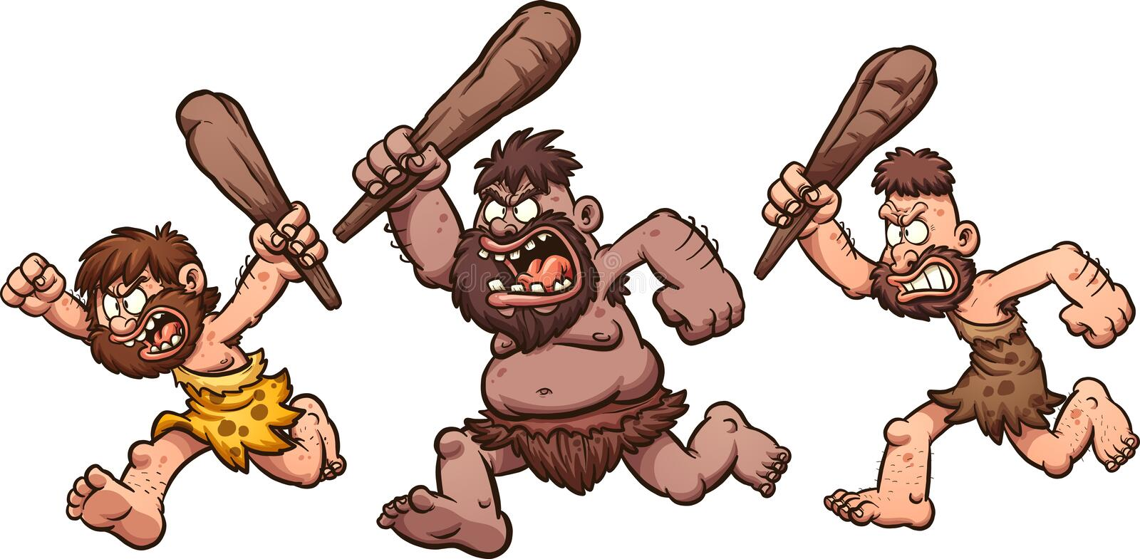 Running cavemen. Angry running cavemen. Vector clip art illustration with simple gradients. Each on a separate layer stock illustration