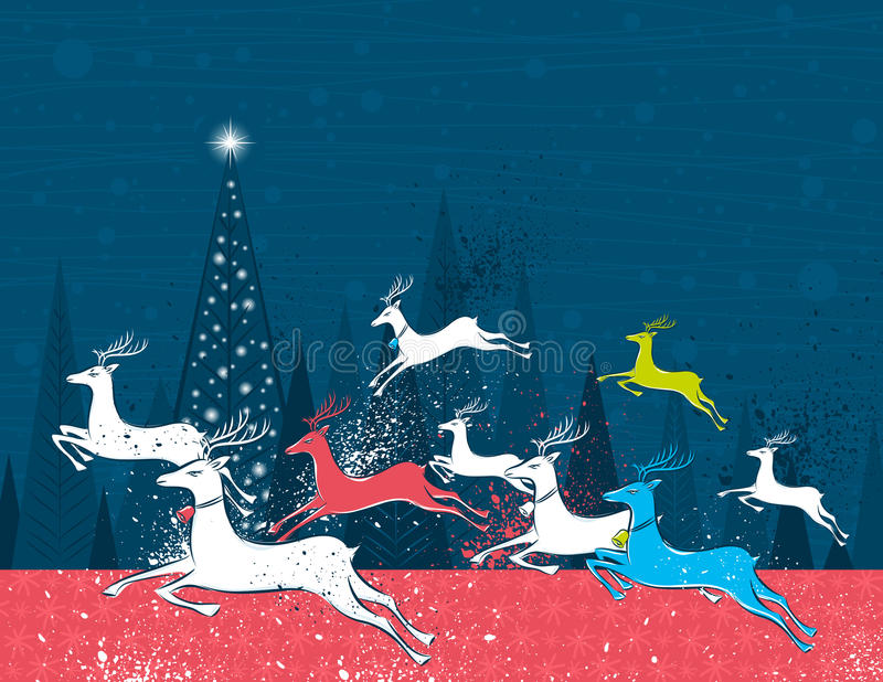 Running christmas deers in the blue forest royalty free illustration