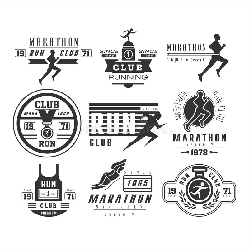 Running club labels, emblems and design elements royalty free illustration