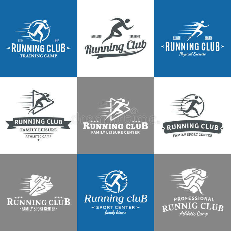 Running Club Logo, Icons and Design Elements. Set of running club logo. Running club labels with sample text. Running icons for sport tournaments, organizations stock illustration
