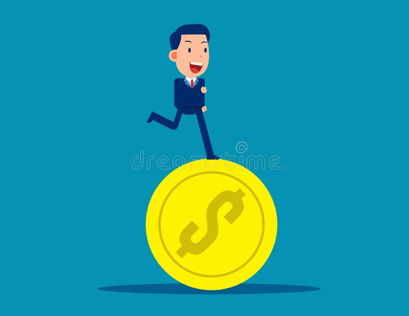 Running on coins. Business financial  concept. Business vector style vector illustration