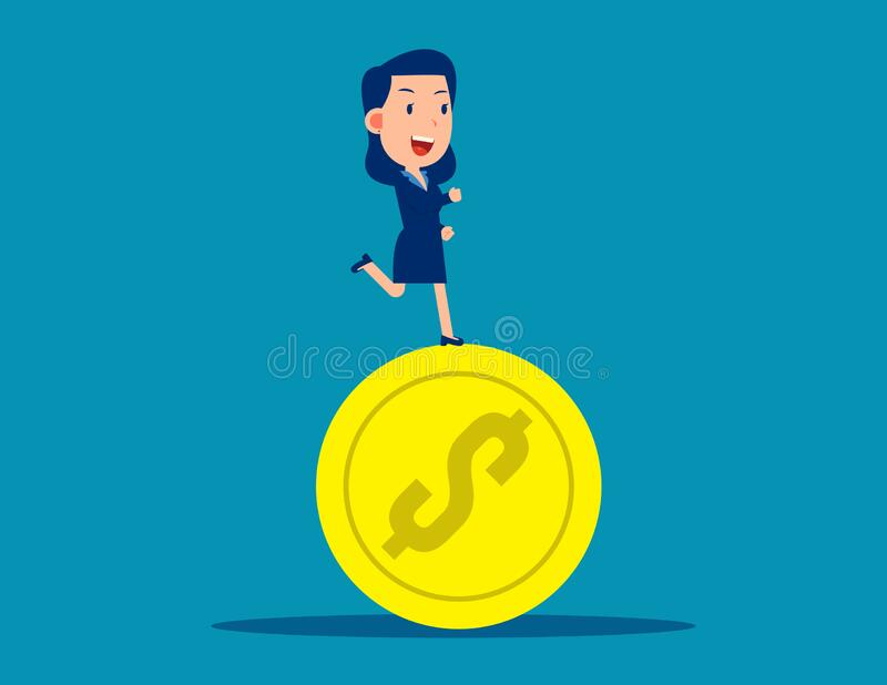 Running on coins. Business financial  concept. Business vector style royalty free illustration