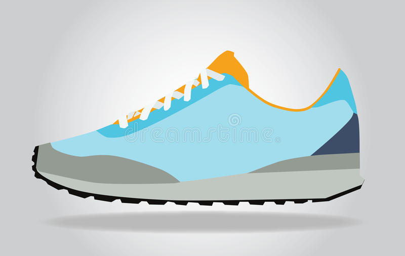 Running colorful pair shoes. royalty free illustration