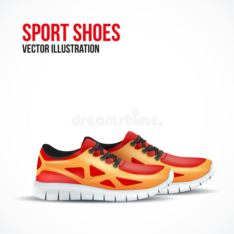 Running colorful pair shoes. Bright Sport sneakers. Symbol. Vector illustration isolated on white background royalty free illustration