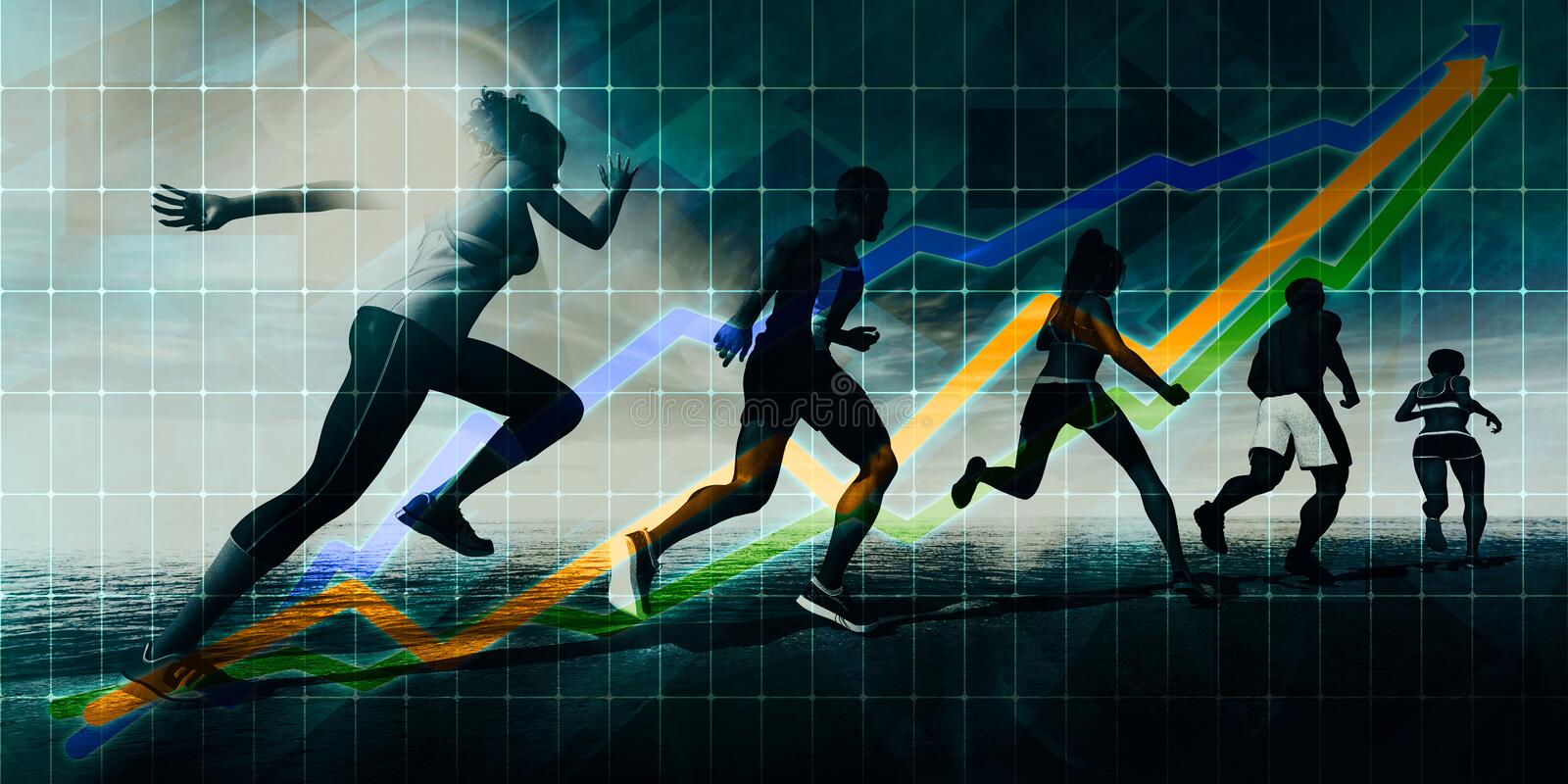 Running Concept. Abstract Background with Runners Silhouette royalty free illustration