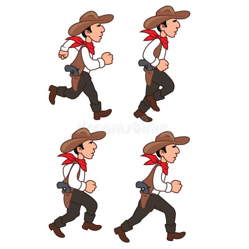 Running Cowboy Sprite. Illustration of Running Cowboy for Animation or Game stock illustration
