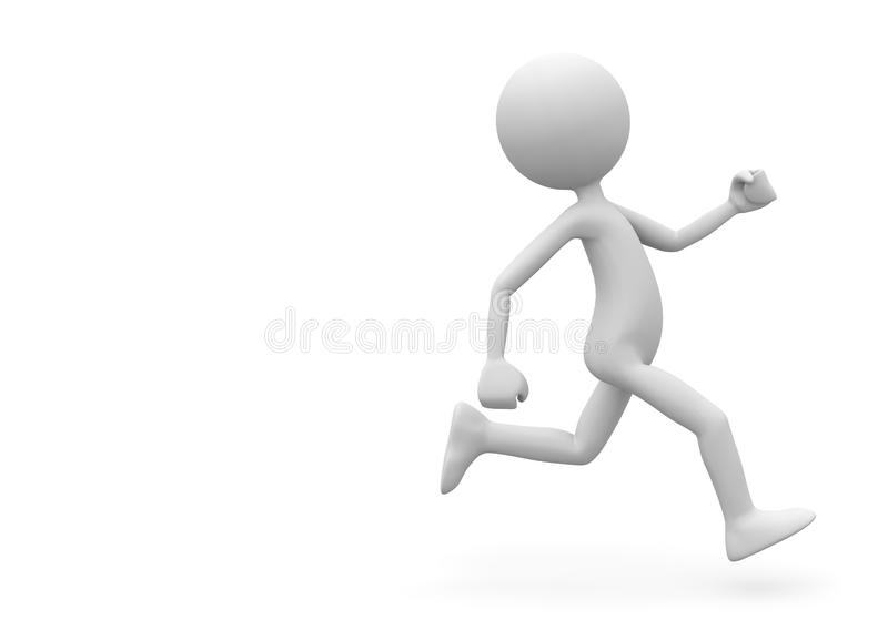 Running 3D Cartoon Character on White Background stock photo