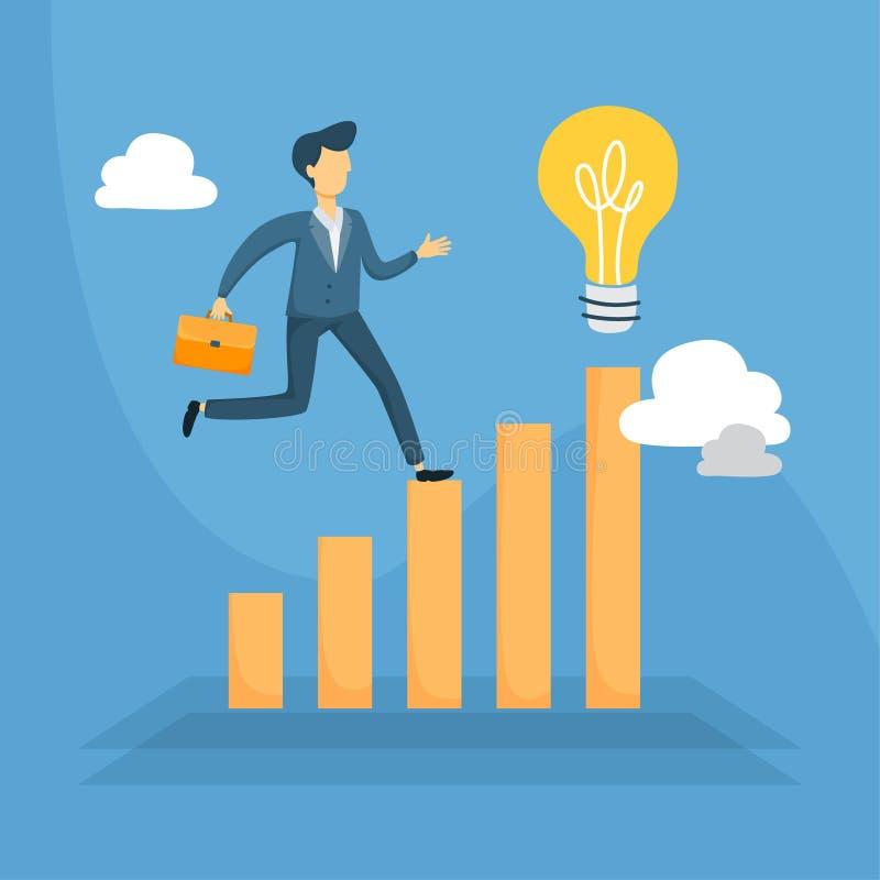 Running on data. Businessman running on data to idea lightbulb vector illustration