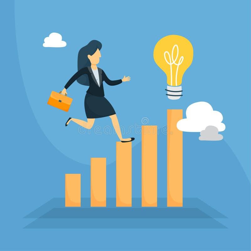 Running on data. Businesswoman running on data to idea lightbulb vector illustration