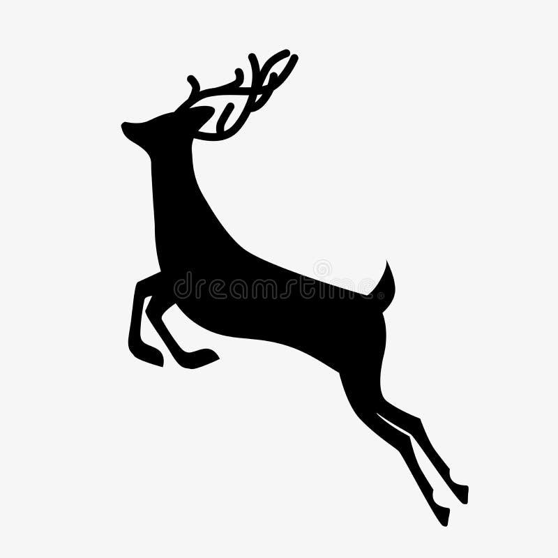 Running deer black silhouette stock illustration
