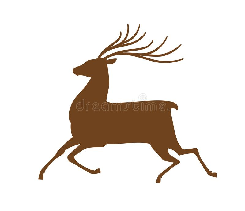 Running deer, icon or symbol. Reindeer, animal silhouette. Vector illustration royalty free illustration