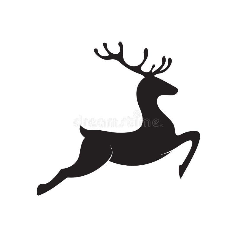 Running Deer Silhouette. vector deer icon stock illustration