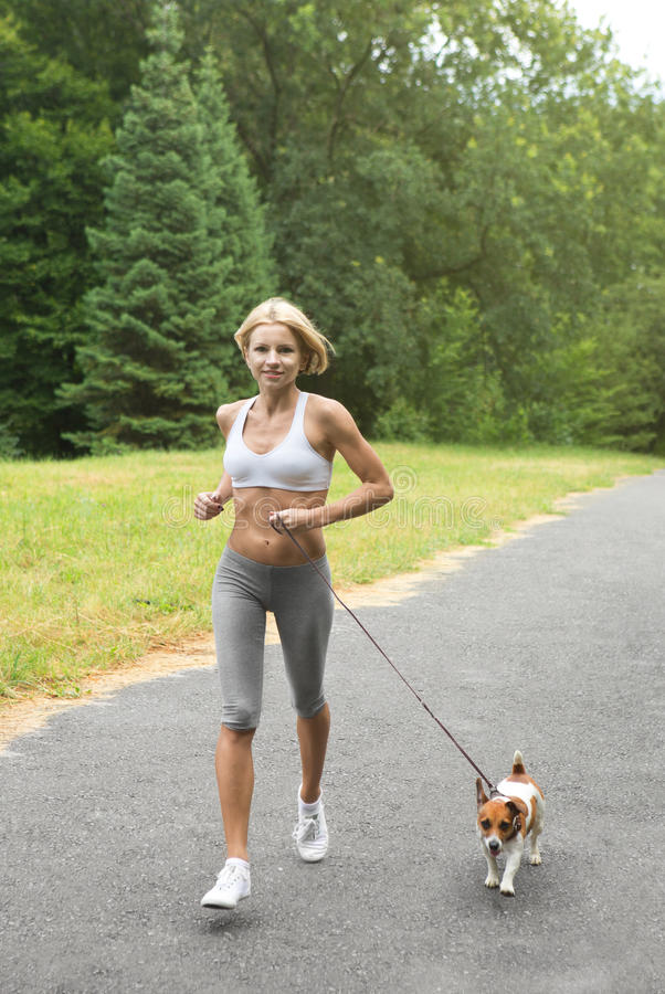 Running with dog. Woman is jogging with dog Jack Russel terrier in park stock photography