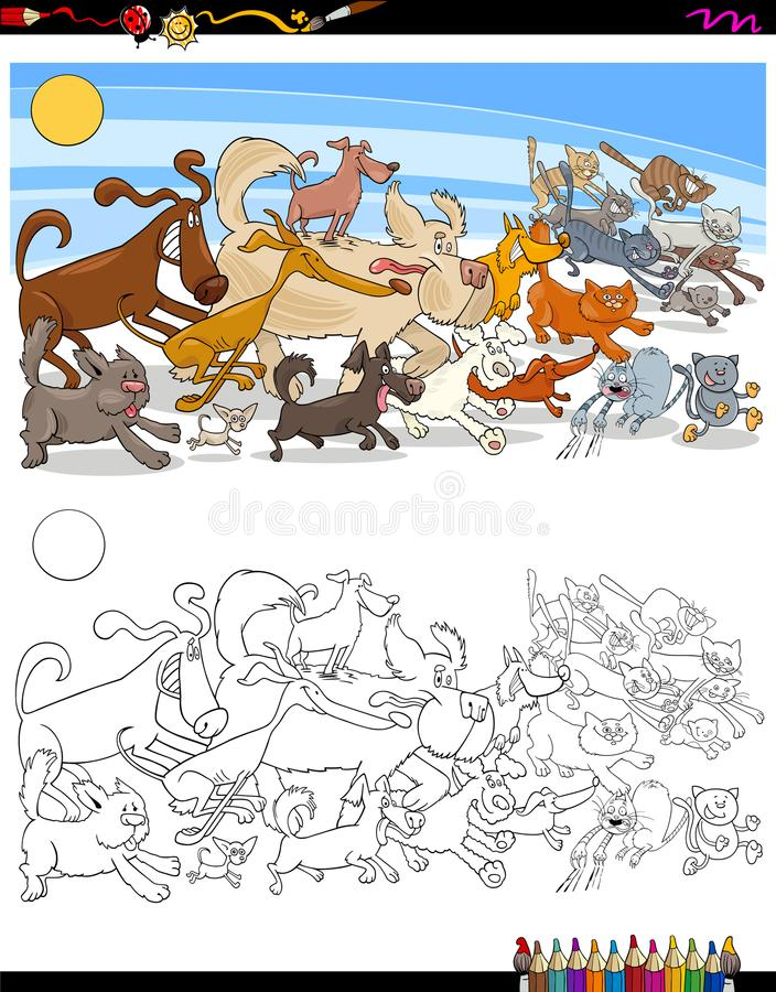 Running Dogs And Cats Characters Color Book Stock Vector ...