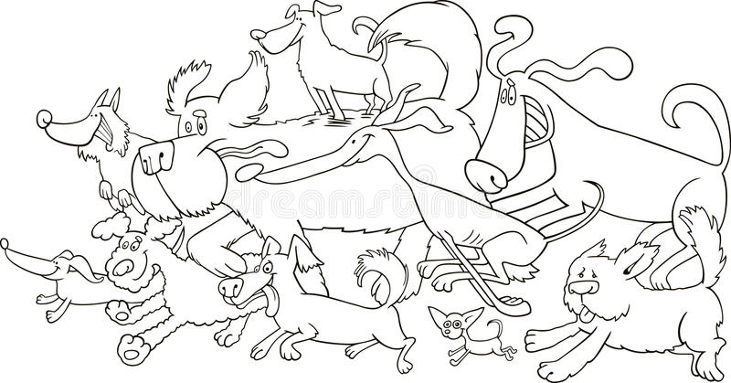 Running dogs for coloring stock photography