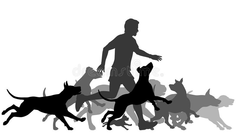 Running with dogs. Editable vector silhouettes of a man and pack of dogs running together with all elements as separate objects
