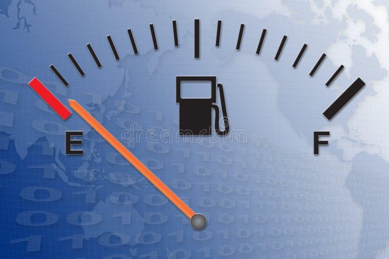 Running on empty. Running on low fuel vector illustration