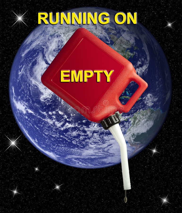 Running on empty. Empty gerry can superimposed over the earth royalty free stock image
