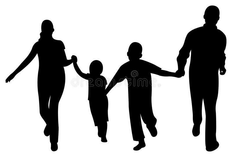 Running Family Of Four Vector Stock Photography