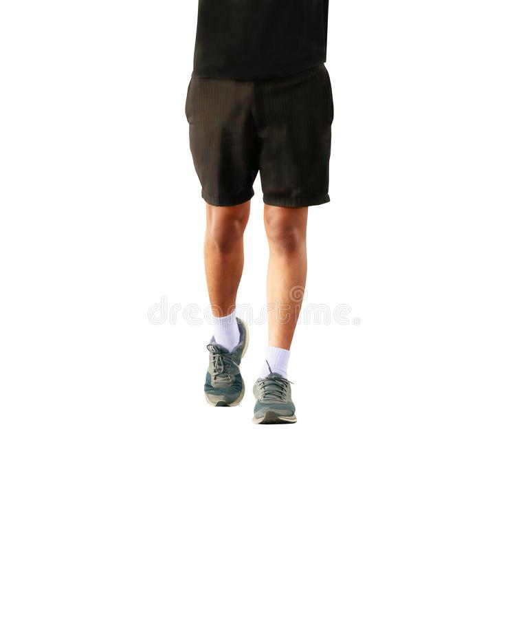 Running feet male in runner jogging exercise with old shoes for health lose weight concept isolated on white background.  stock photography