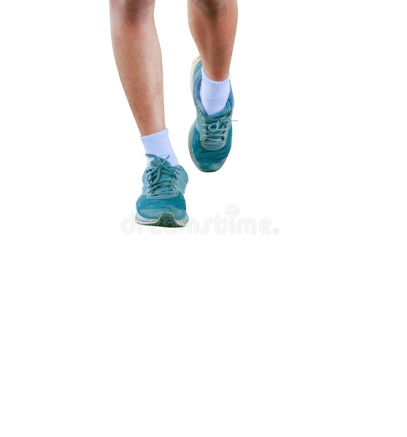 Running feet male in runner jogging exercise with old shoes for health lose weight concept isolated on white background.  royalty free stock image