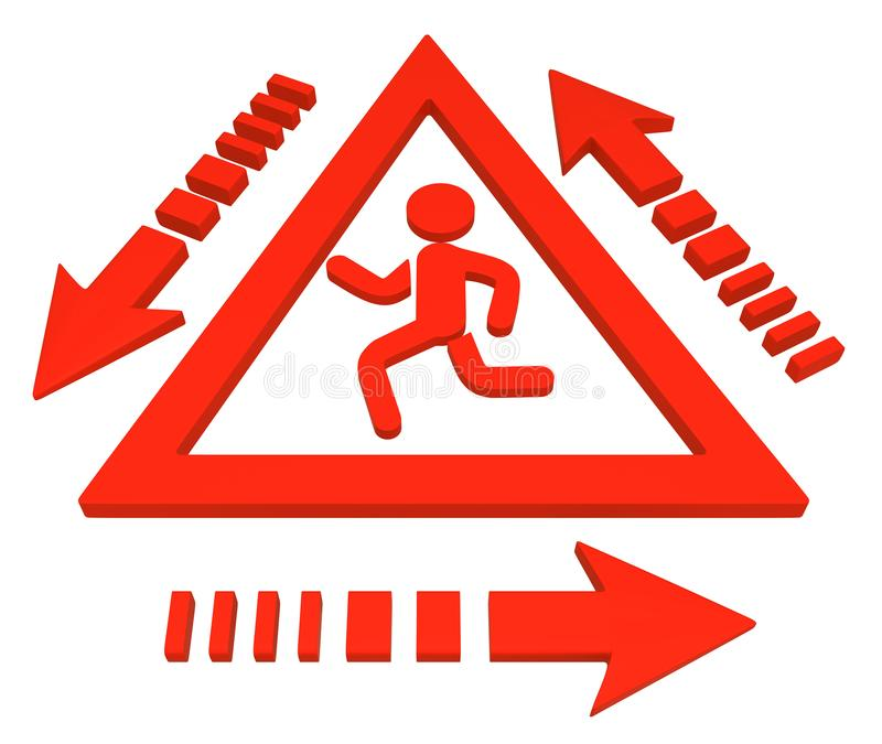 Running Figure Triangle Sign Cycle vector illustration