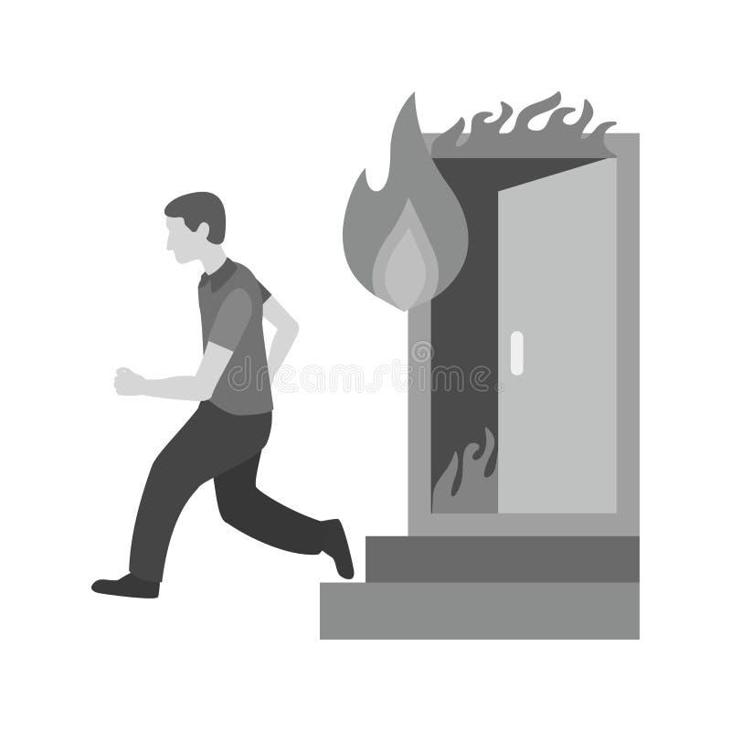 Running from Fire stock illustration