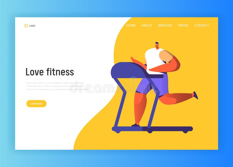 Running Fitness Character Design for Landing Page. Jogging Man Run in Gym. Healthy Urban Workout Training Website royalty free illustration
