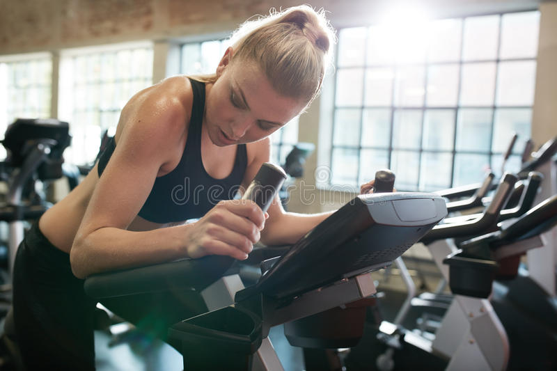 Running at the fitness club royalty free stock photography