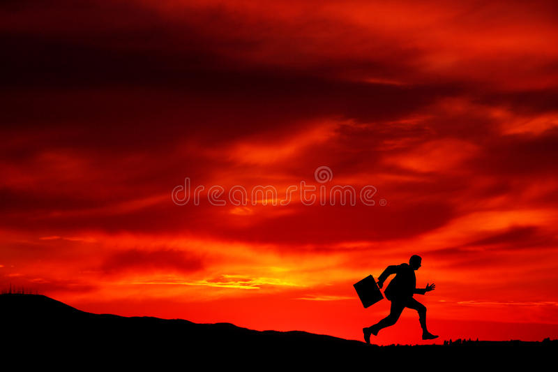 Running. Or fleeing from something stock photos