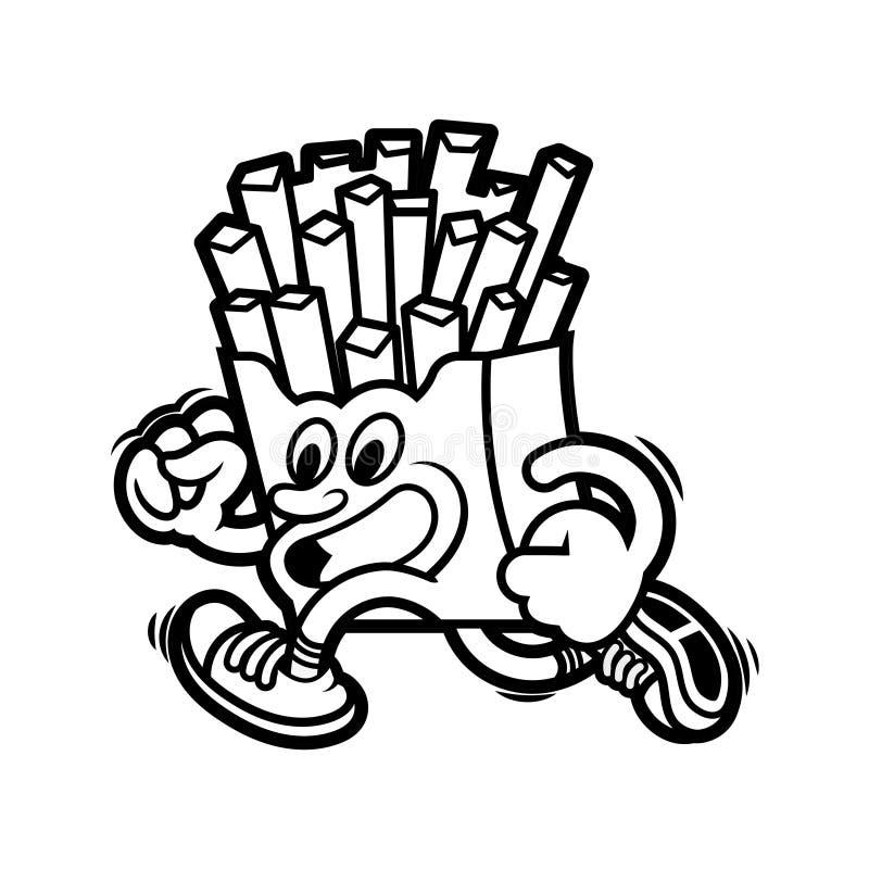 Running french fries stock illustration