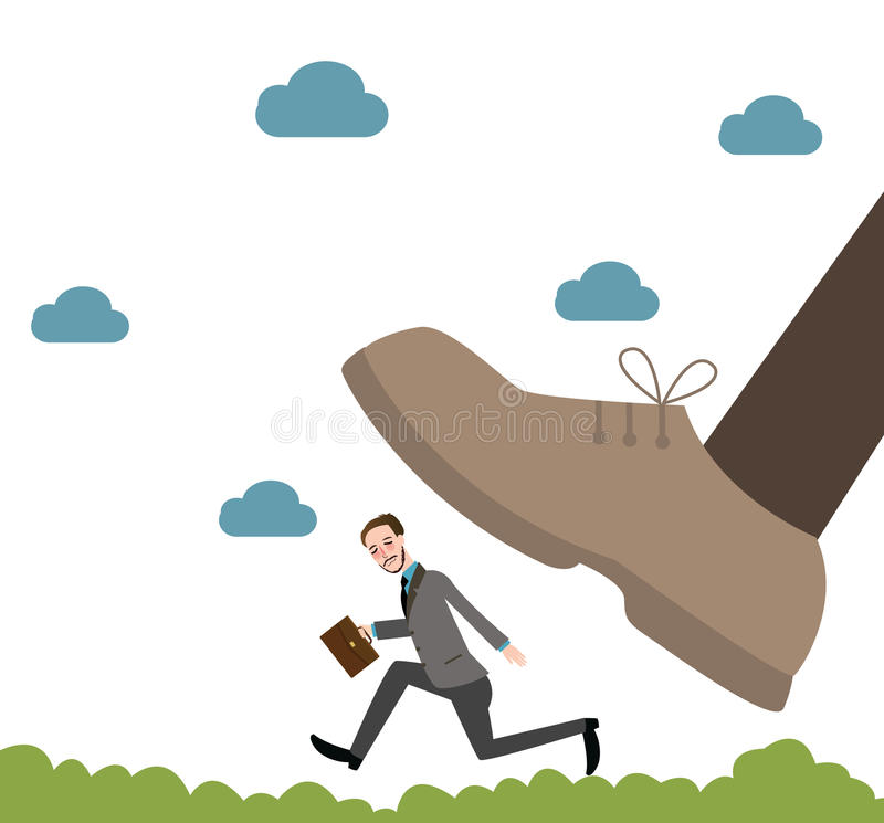 Running from giant unfair competition business big vs small royalty free illustration