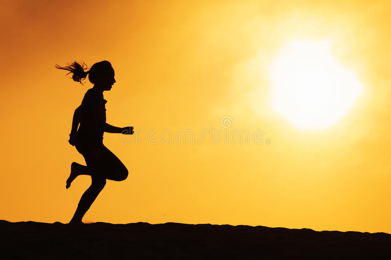 Download Running girl stock image. Image of runner, contrast, silhouette - 21426851
