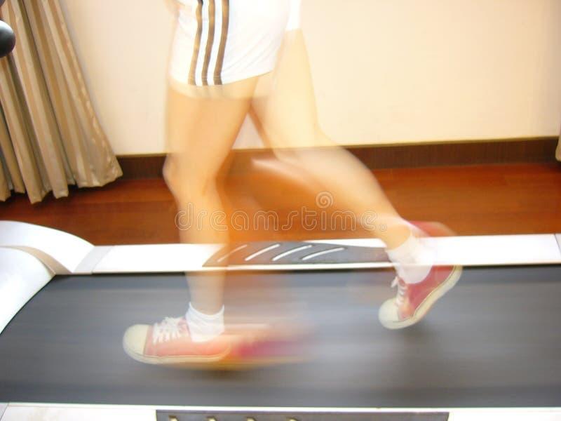 Running girl on the body builder,horizontal stock image