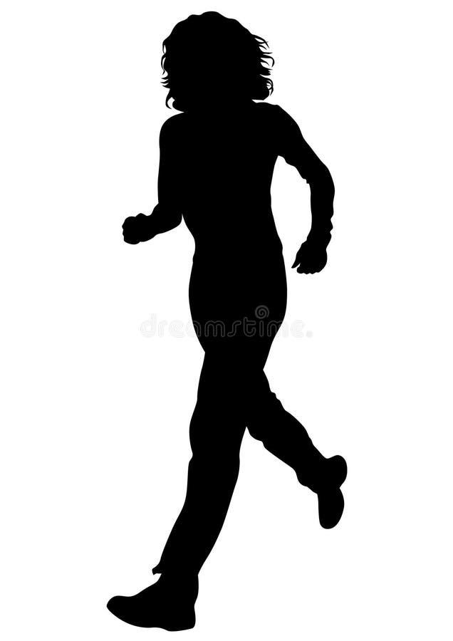 Running girl eight. Woman athletes on running race on white background stock illustration
