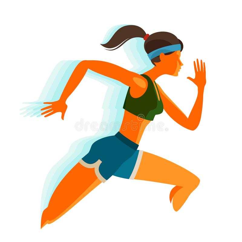 Running girl. Fitness, sport concept. Vector illustration royalty free illustration