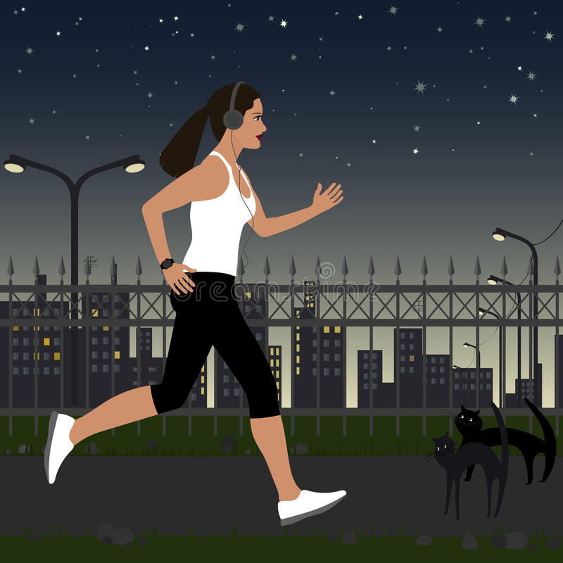 Running girl with headphones in sportswear on the background of the city at night. In the background, there are street lights vector illustration