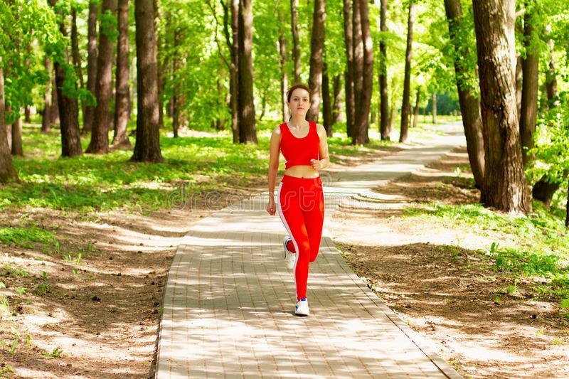 Running girl morning jogging in the woods stock photography