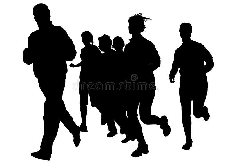 Running girl nine. Woman athletes on running race on white background royalty free illustration